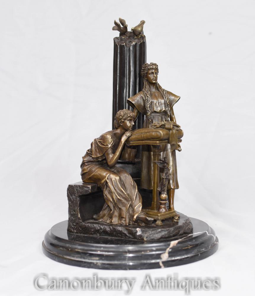 Klassische Bronze Maiden Figurine Statue signiert Milo Pillar