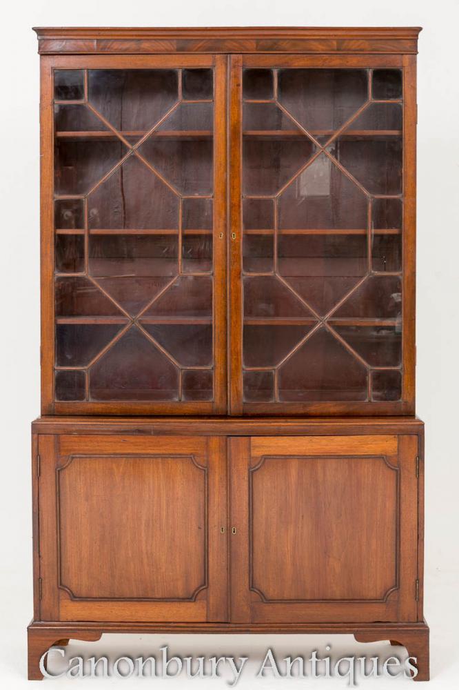 Mahagoni Georgian Bookcase - Zwei Tür Glasierte Kabinett