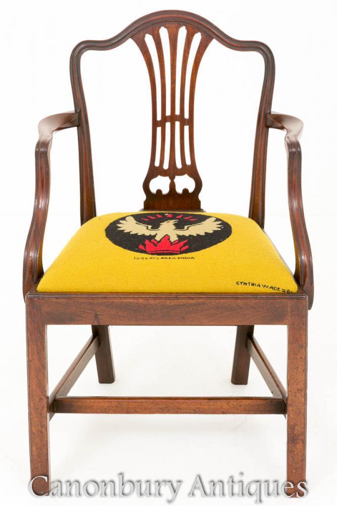 Mahagoni Hepplewhite Schreibtischstuhl - Antike Armstühle
