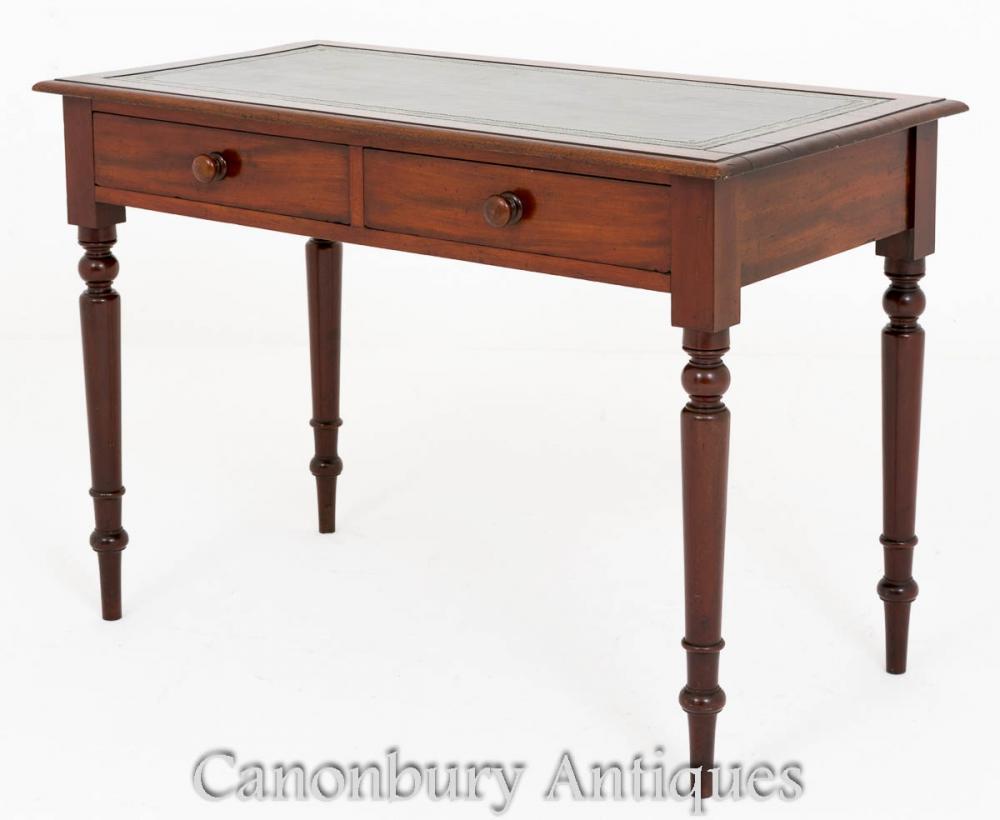Mahagoni Victorian Desk Zwei Schubladen Schreibtisch 1860
