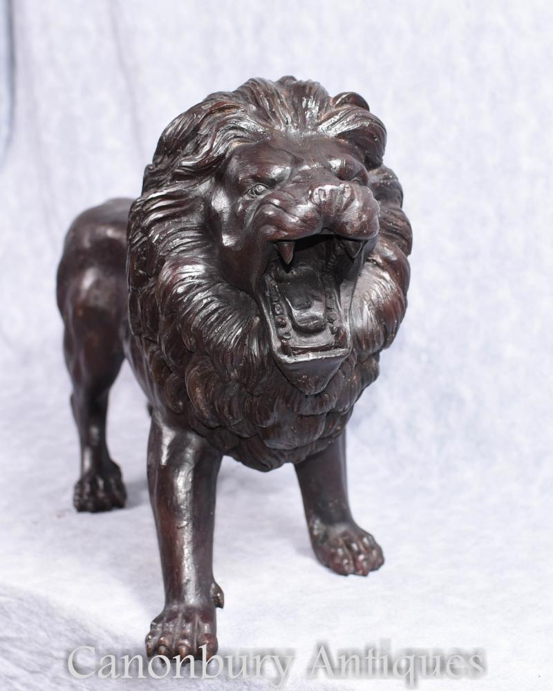 Paar Bronze Lions italienischen Medici Cat Statuen