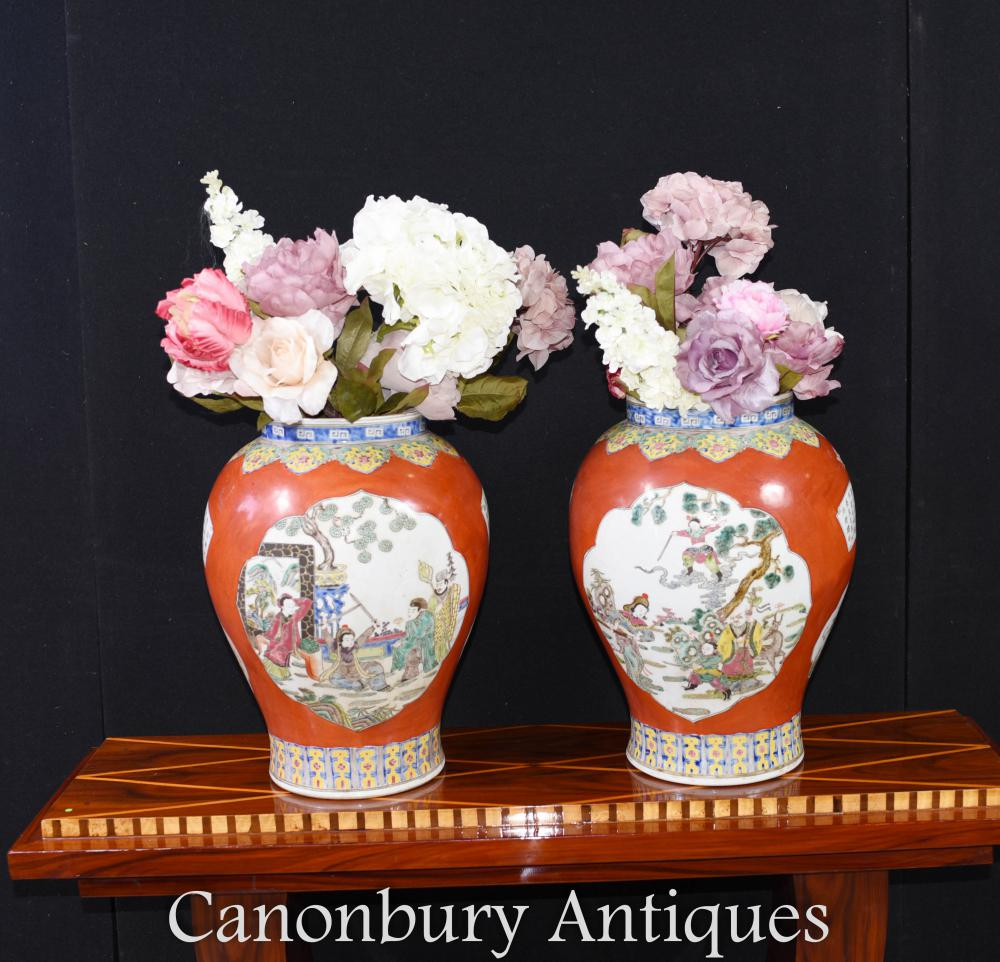 Paar Chinesische Qing Porzellan Vasen - Tempel Gläser Imperial Red