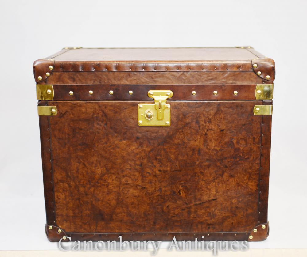 Paar Englisch Leder Steamer Trunk Koffer Tabellen