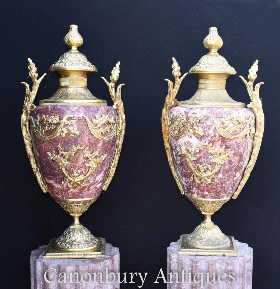 Paar Französisch Reich Marmor Amphoren Urnen Vasen Ormolu Fixtures