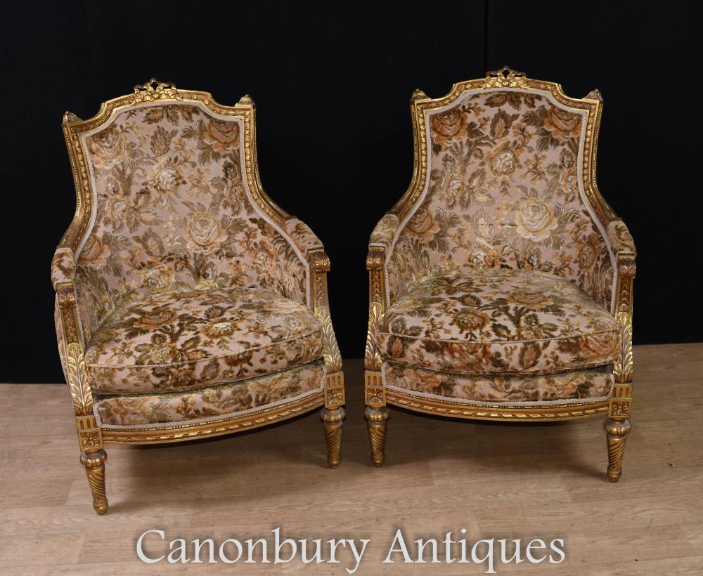 Paar Französische Sessel - Empire Fabric Gilt Fauteuils