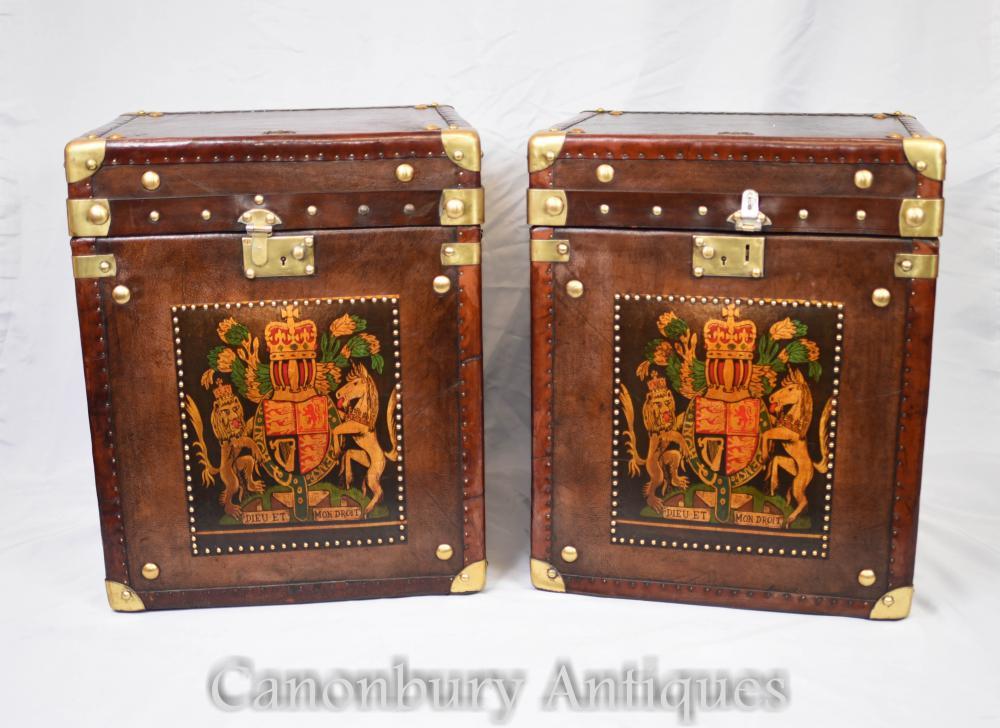 Paar Leder Steamer Trunk Boxen - Koffer Beistelltisch