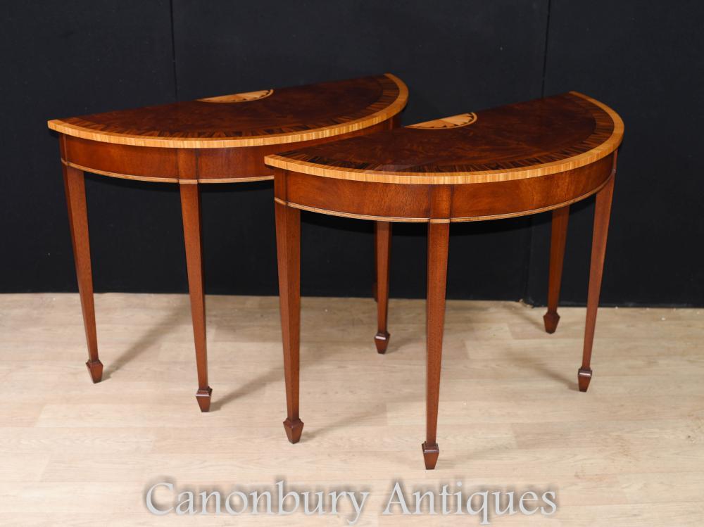 Paar Mahagoni Konsolen Tische - Regency Demi Lune Hall Tabelle
