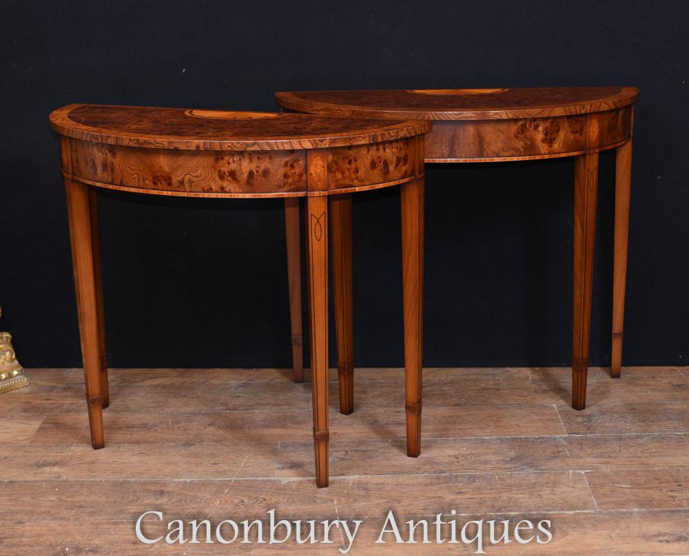 Paar Regency Adams Walnut Console Tabellen Demi Lune