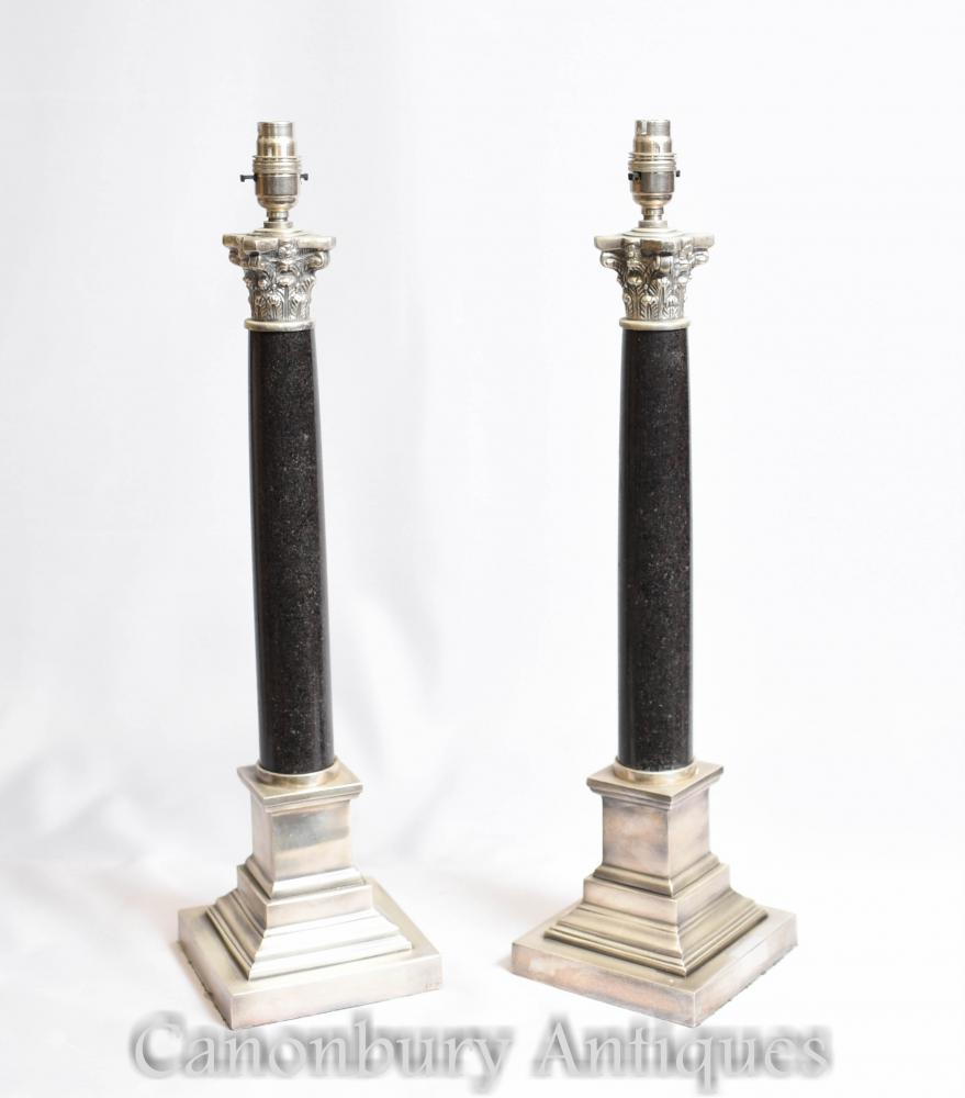Paar Regency Corinthian Spalte Tischlampen Lichter Silberne Platte