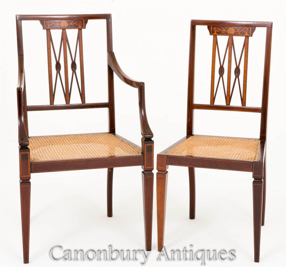 Paar Sheraton Schreibtischstühle aus Mahagoni 1890