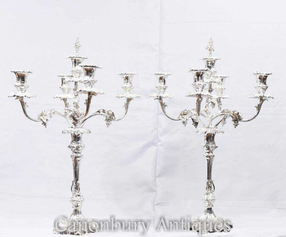 Paar Silberplatte Rokoko Kerzenleuchter - Sheffield Kerzen