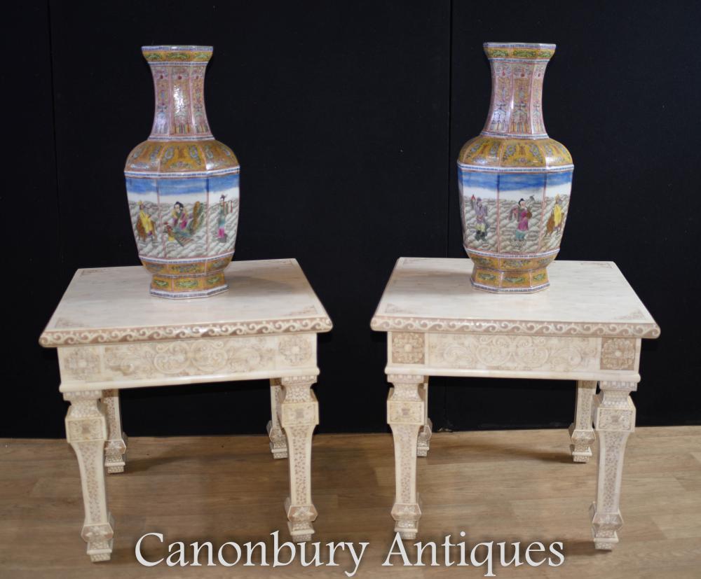 Paar chinesische Knochen Beistelltische Hand geschnitzte Beistelltisch