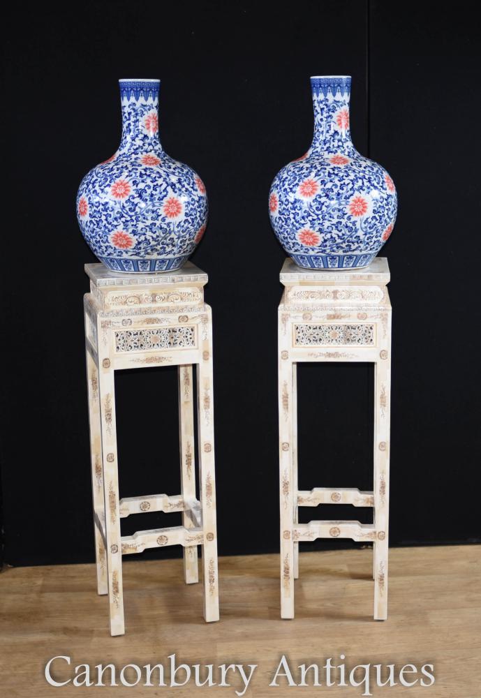Paar chinesische Knochen geschnitzt Pedestal Stand Beistelltische