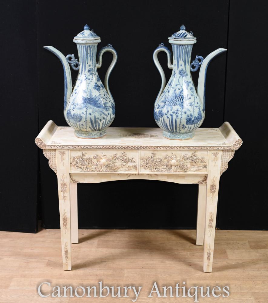 Paar chinesische blaue und weiße Porzellan Krüge - Nanking Keramik Urnen