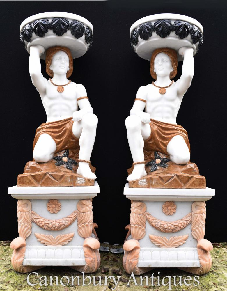 Paar große Stein Marmor Atlas Figur Urnen Vasen Garten Statuen