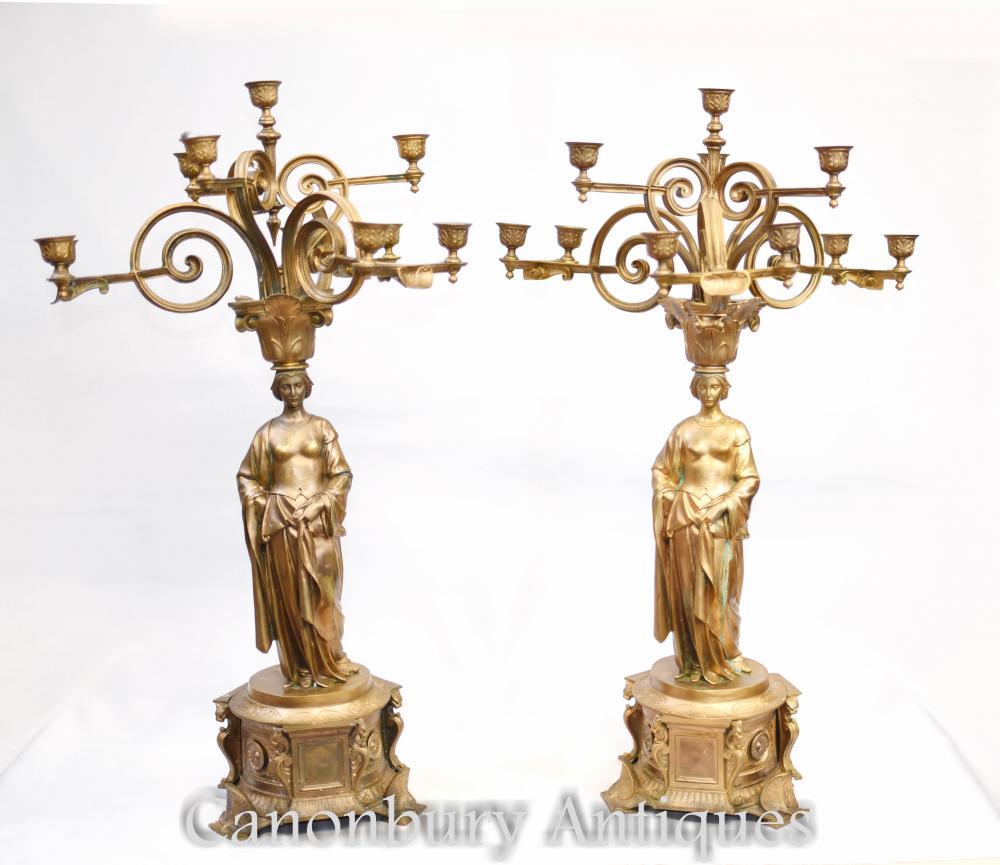Pair Französisch Reich Gilden Maiden Candelabras Kerzen