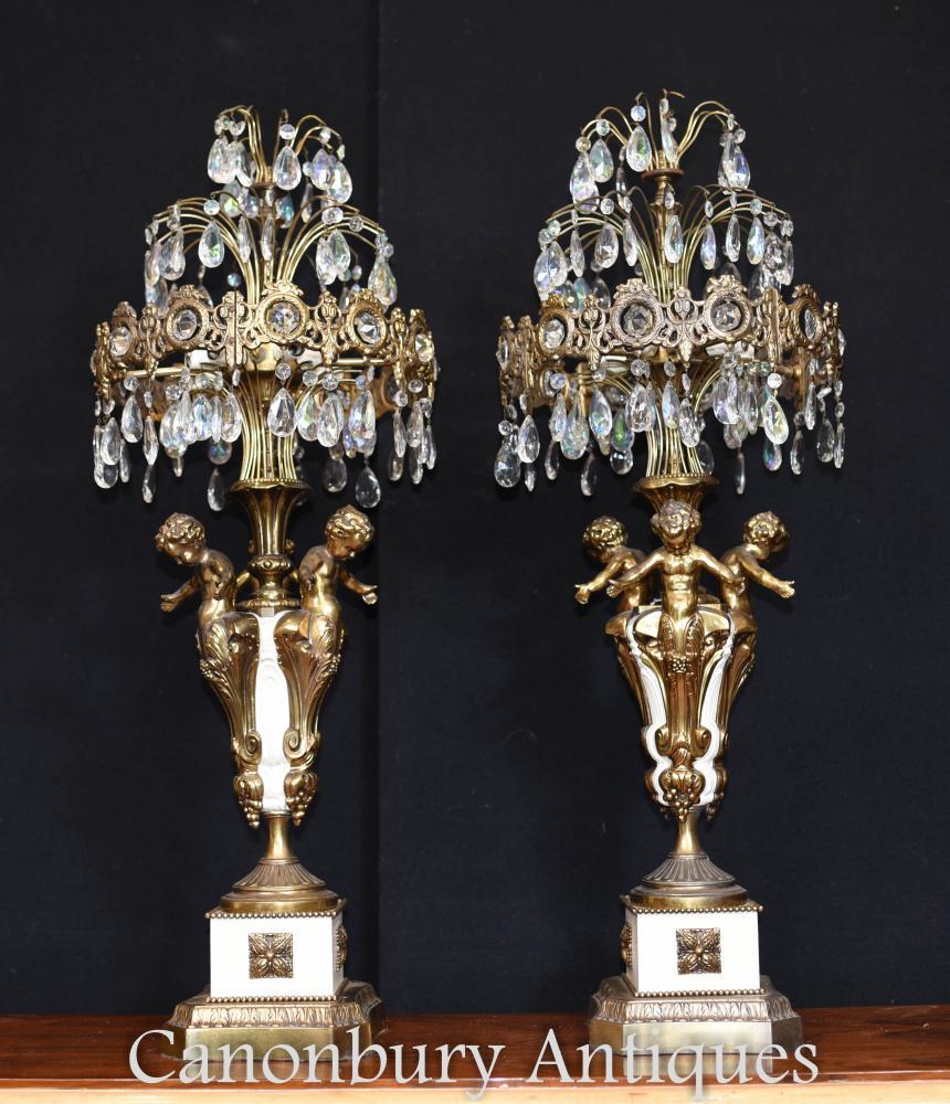 Pair Französisch Reich vergoldet Cherub Tischlampen Kandelaber