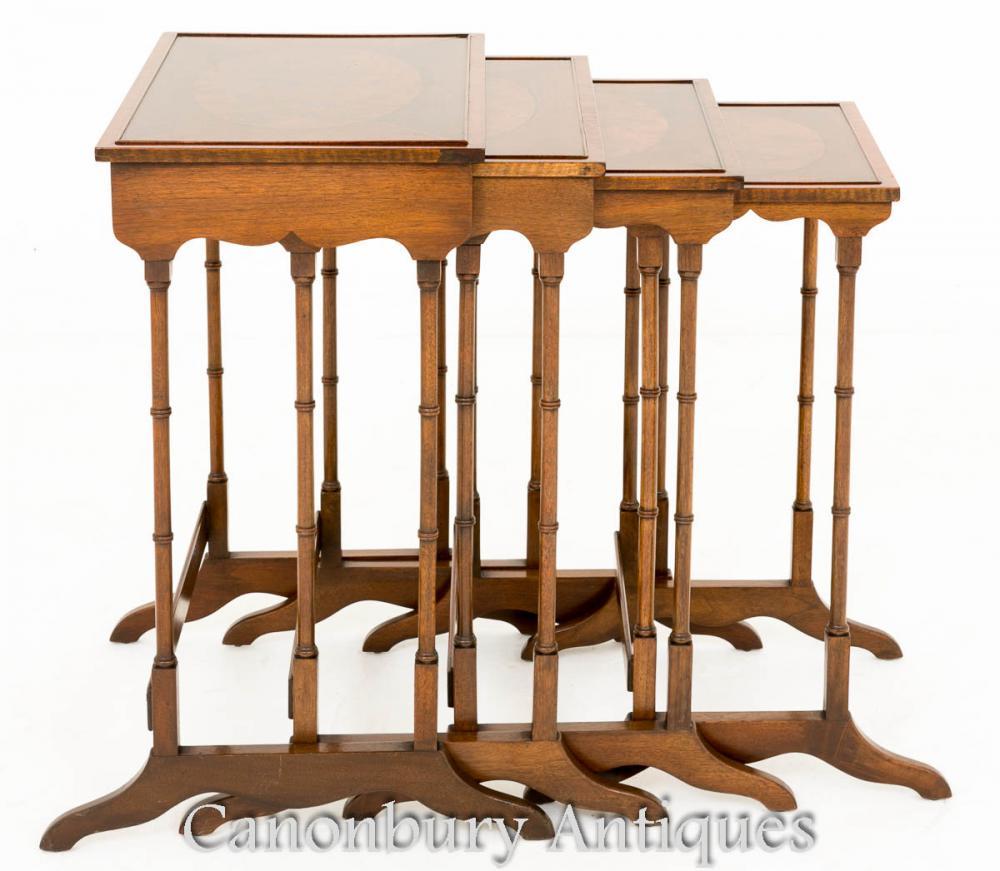 Regency Nest Tische - Set 4 Maogany Beistelltisch