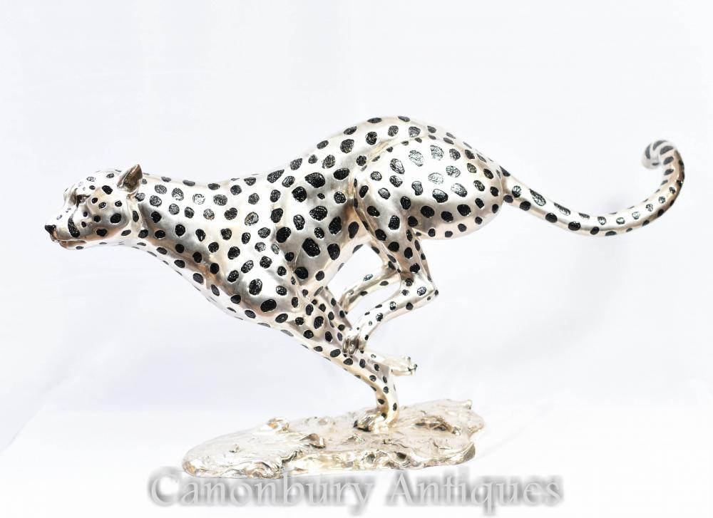Silberne Bronze Lauf Cheetah Cat Statue Art Deco Panther