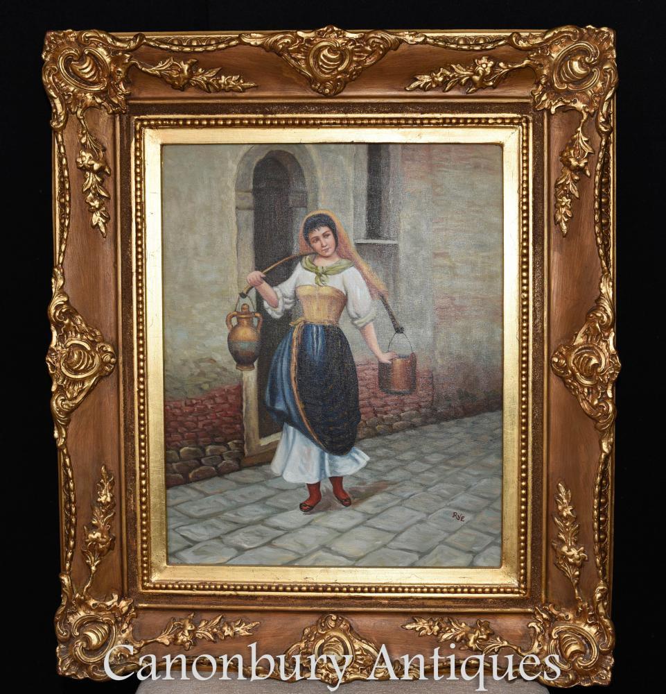 Spanische Ölgemälde Portrait Wein Dame Sevilla Senorita