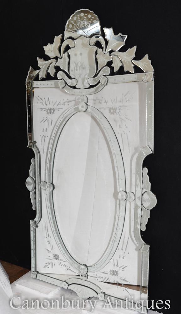 Venetian Pier Spiegel geschliffenes Glas geätzt