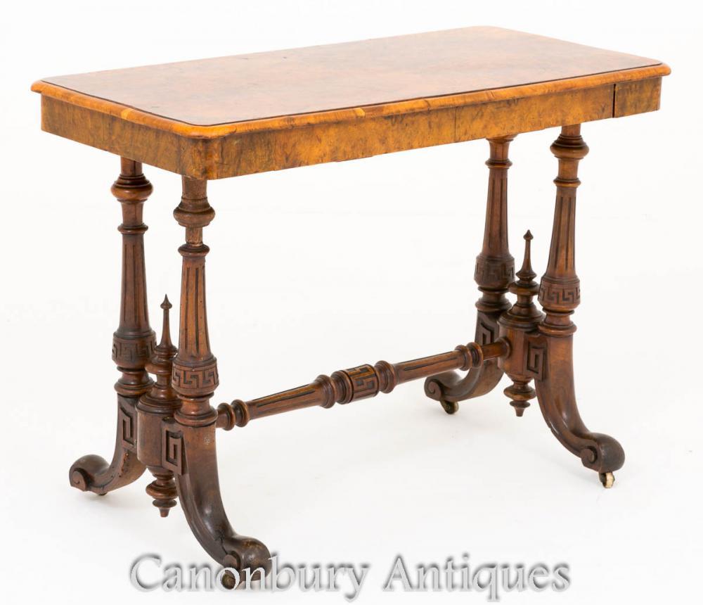 Viktorianischer Keilrahmen Tisch Burr Walnut Circa 1860