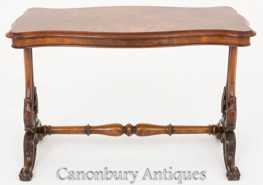 Viktorianischer Keilrahmen Tisch Nussbaum Beistelltische 1860
