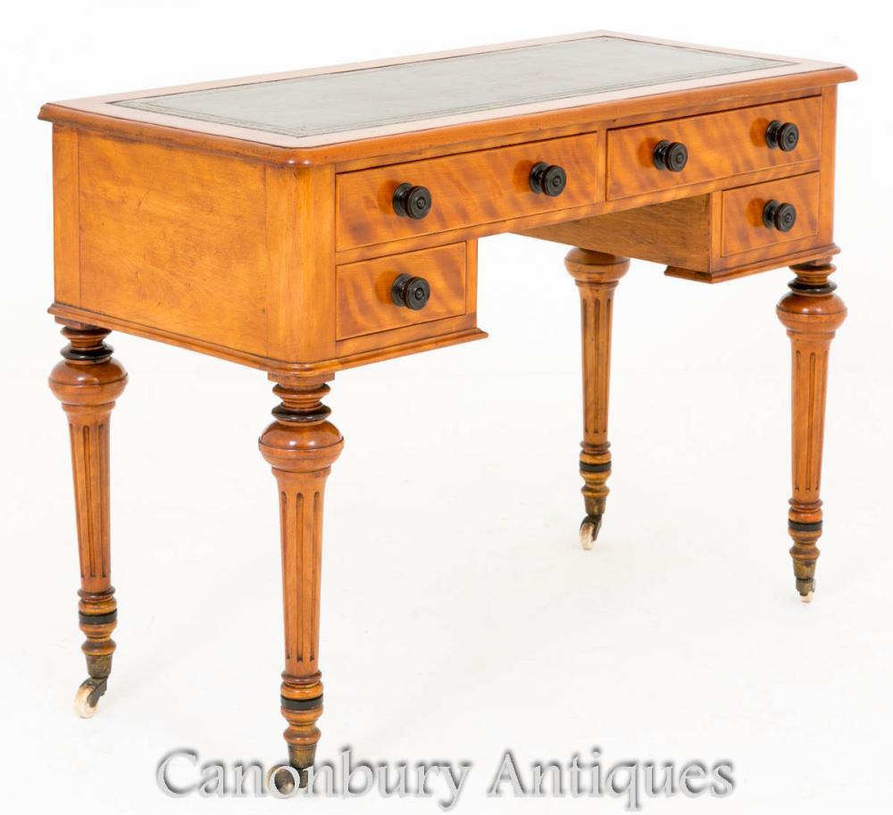 Viktorianischer Schreibtisch Schreibtisch in Satin Birke 1860