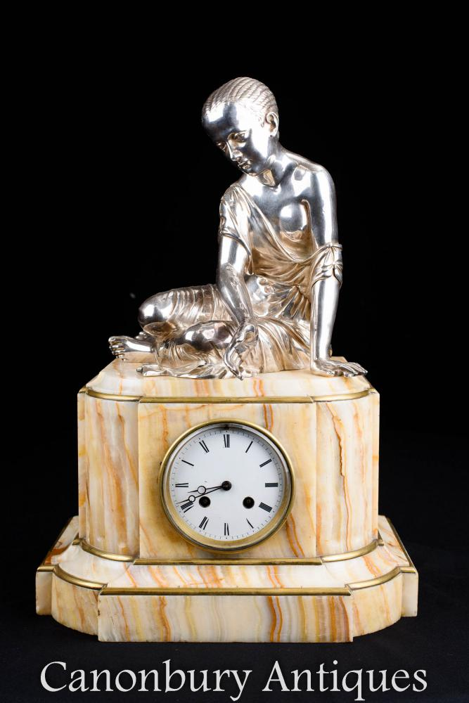 Empire Mantle Clock Onyx und Silberplatte weibliche Figur