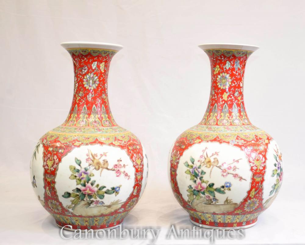 Paar Chinesische Porzellan Vasen Urnen - Imperial Red Shangping