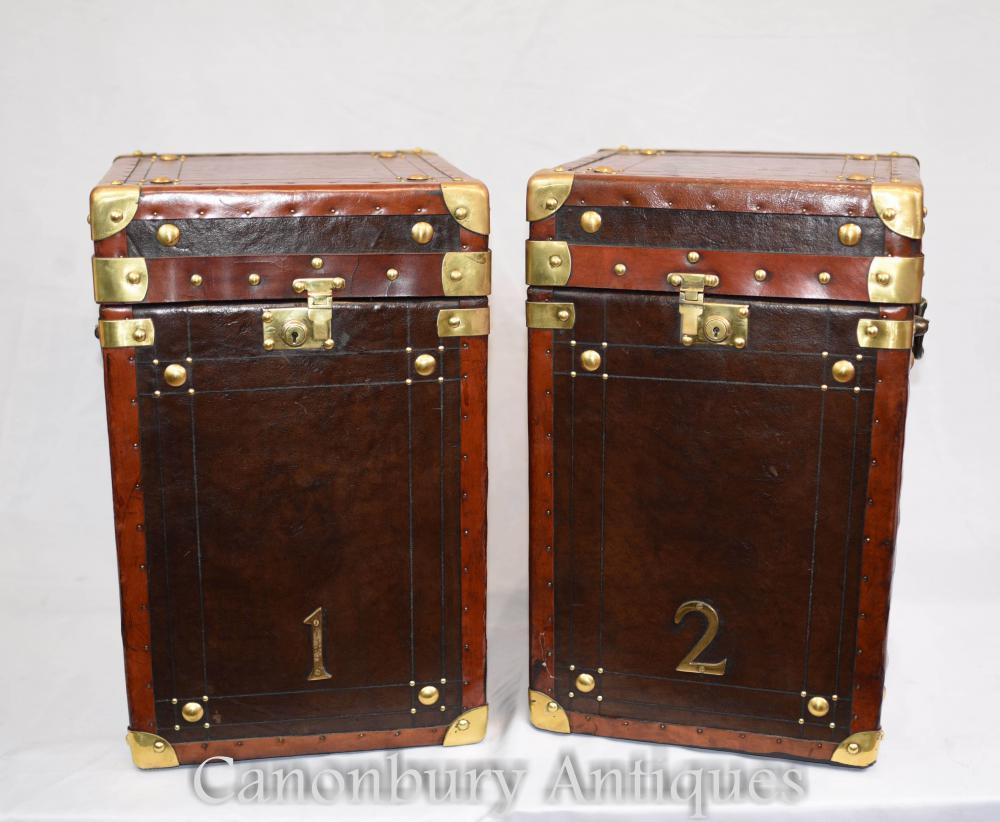 Paar Leder Steamer Koffer Koffer Seitentisch