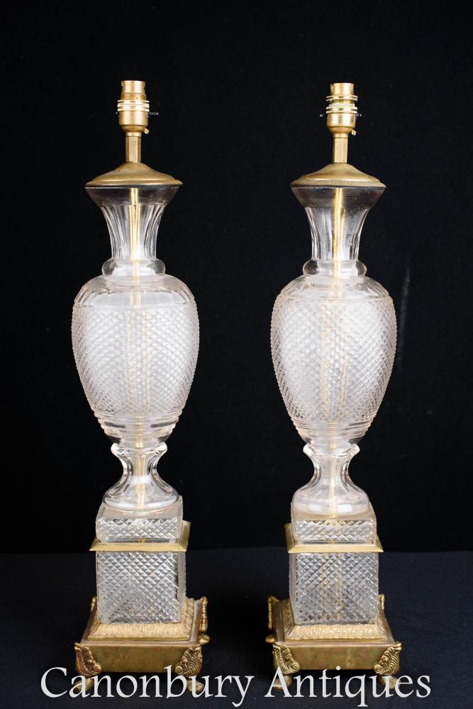 Pair Französisch Reich Glas Tischlampen Urn Lights