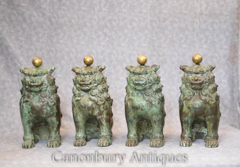 4 antike chinesische Bronze Foo Hunde Wächter Lions 1880