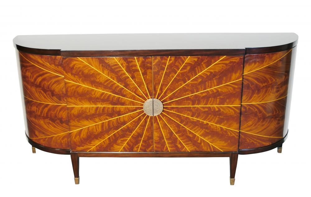 Art Deco Sideboard Mahagoni und Ahornstern Inlay