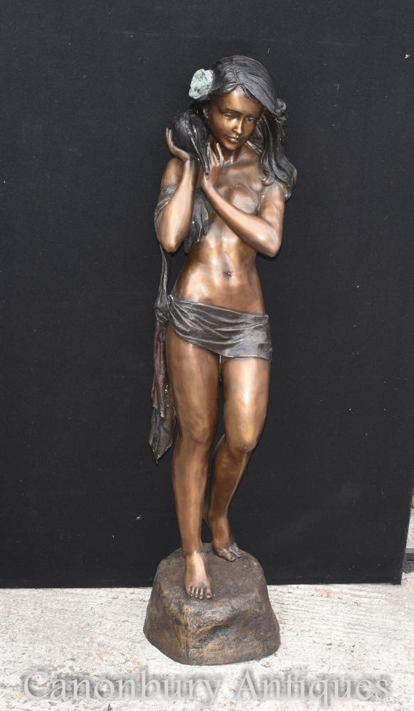 Große Bronze Semi Nude weibliche Figur Conch Statue