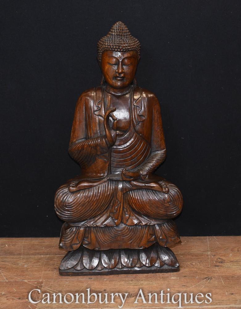 Große Hand geschnitzte tibetische Buddha Statue Buddhismus