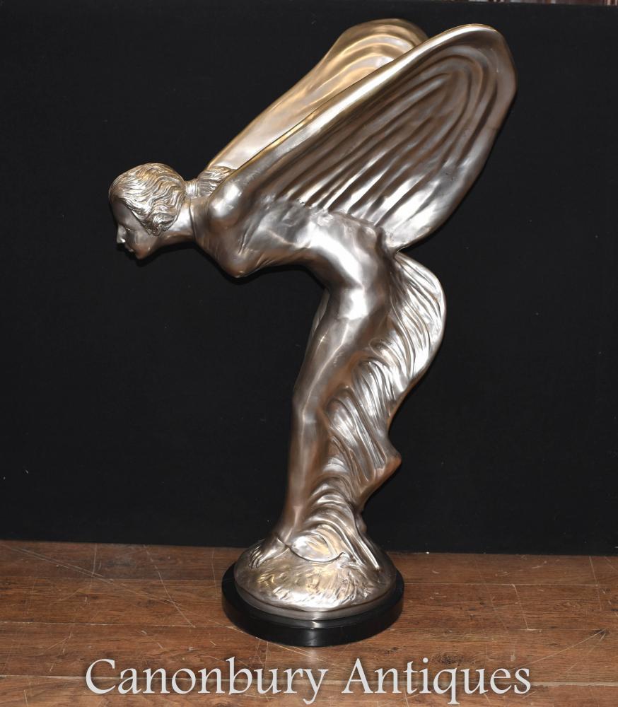 Große Rolls Royce Bronze - Spirit of Ecstasy Jugendstil-Statue