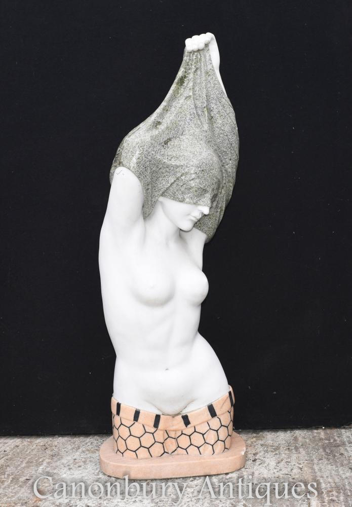 Italienische Marmorbüste entkleiden Halb Nude Lady Figurine