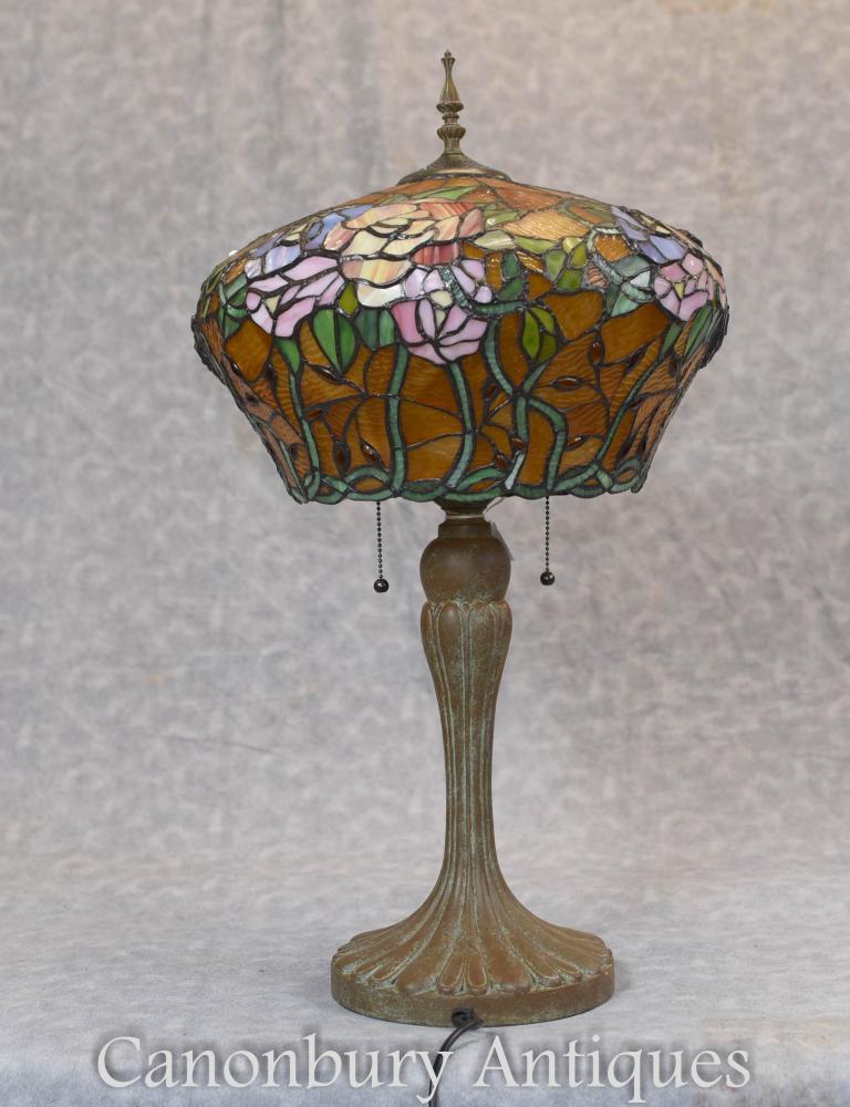 Jugendstil Tiffany Tischlampe Bronze Licht