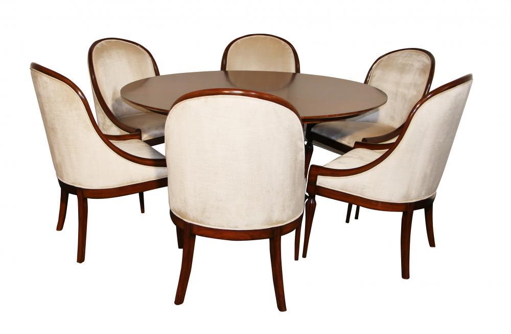 Mahagoni Art Deco Esszimmer Set - Tisch und sechs Stühle