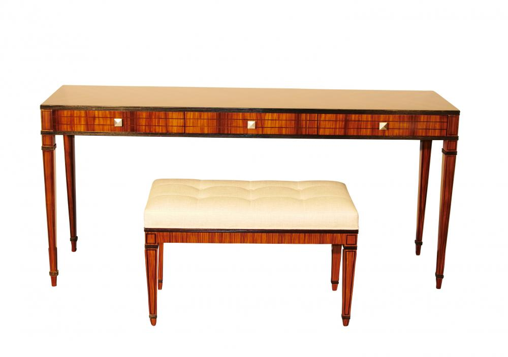 Mid Century Modern Console Table Vanity and Stool Set Santos ...
