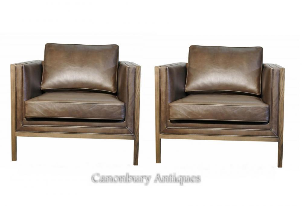 Paar Art-Deco-Ash-Club-Stühle Arm braunes Leder