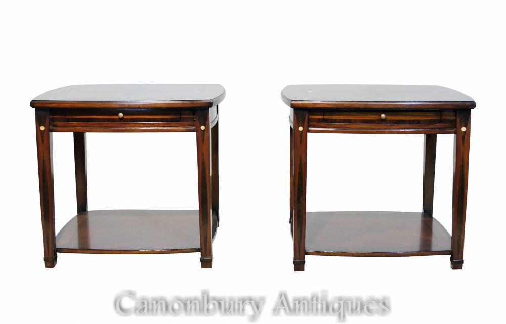 Paar Art Deco Beistelltische Intarsien Inlay