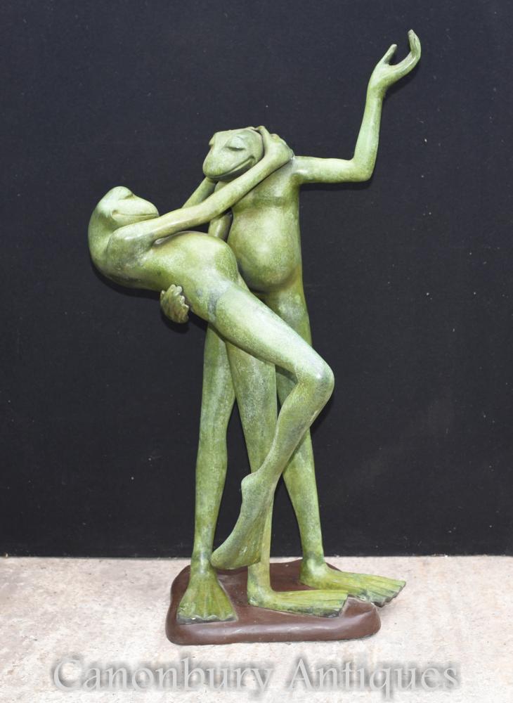 Paar Bronze Tanzen Kröten Statuen Frosch Castings
