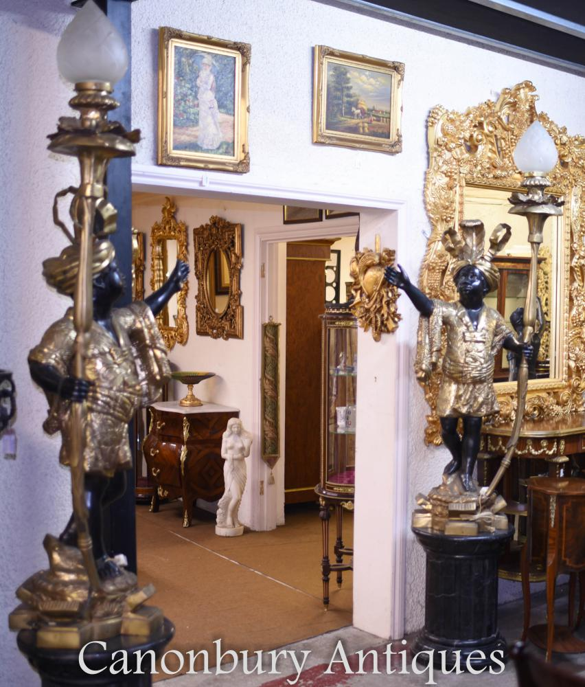 Paar Bronze Zwerg Blackamoor Statuen leuchtet Candelabras
