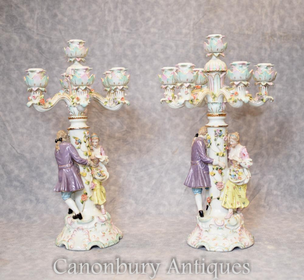 Paar Deutsche Meissen Porzellanfigur Kerzenleuchter Kerzen