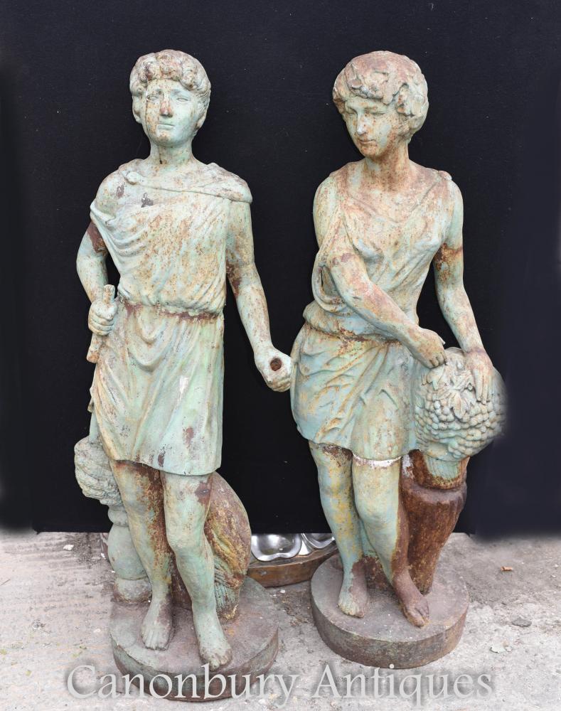 Paar antike viktorianische Gusseisen römischen Garten Statuen Figuren um 1860