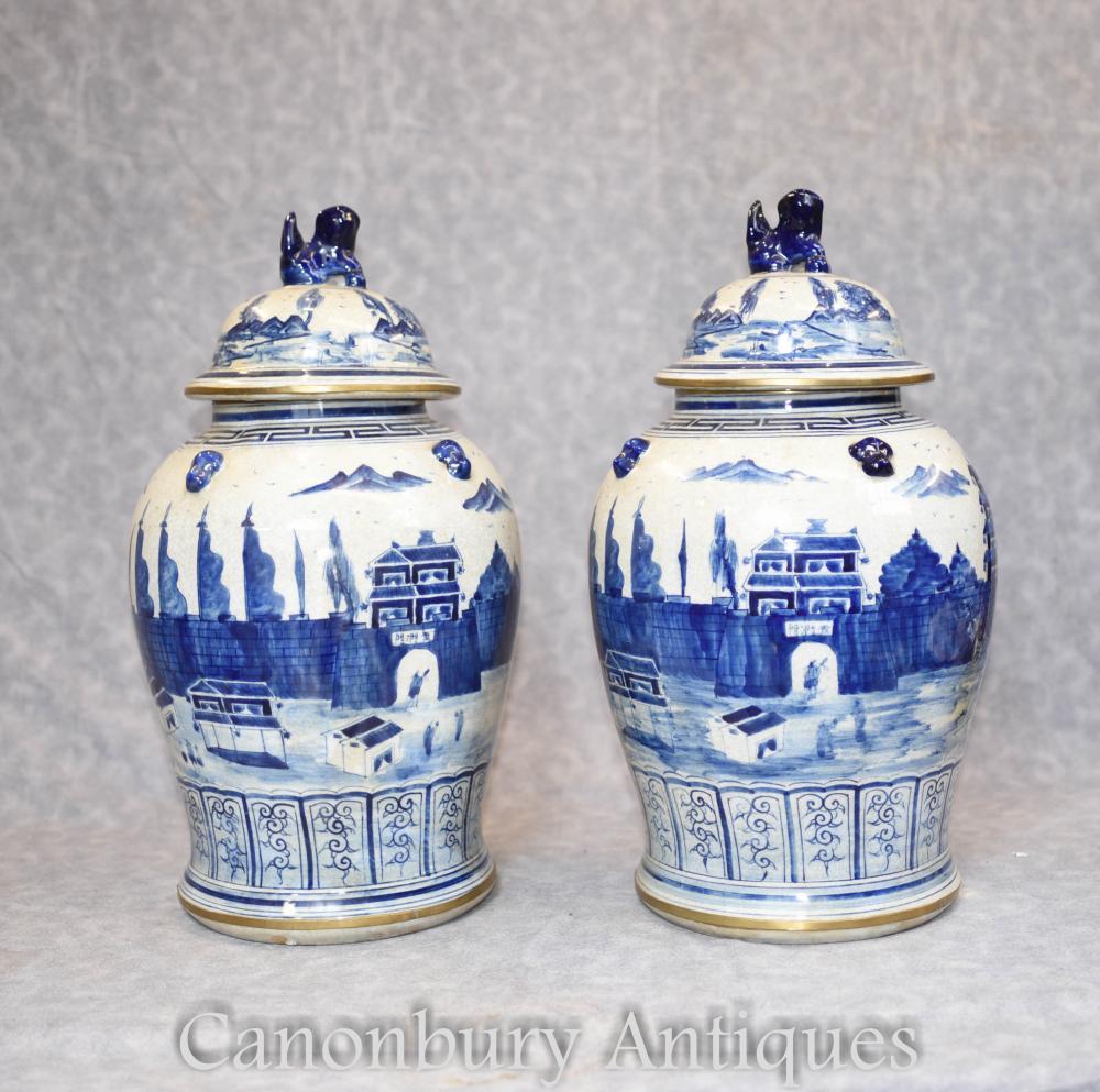 Paar blau und weiß Porzellan Lidens Urnen chinesischen Kangxi Gläser