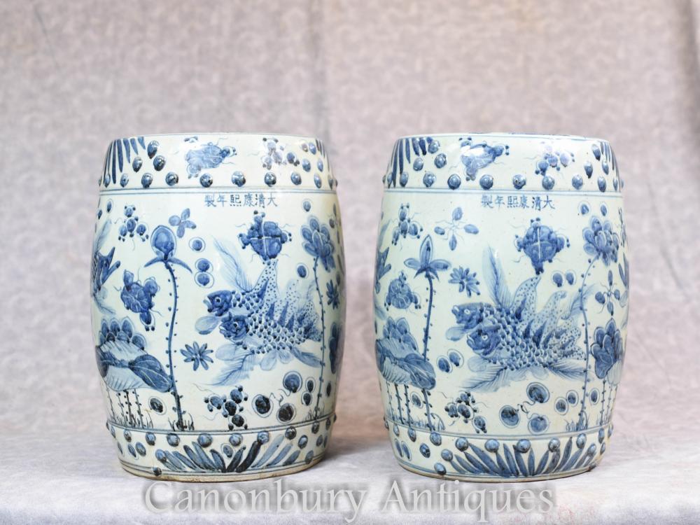 Paar chinesischen blauen und weißen Porzellan Gartensitzplätze Hocker Nanking