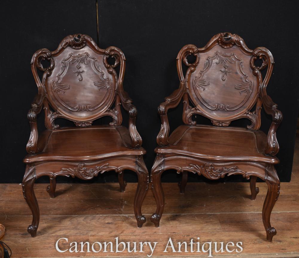 Pair Art Nouveau Französisch Hartholz Sessel
